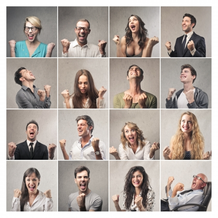 different men and women cheering  Stock Photo - 22776202
