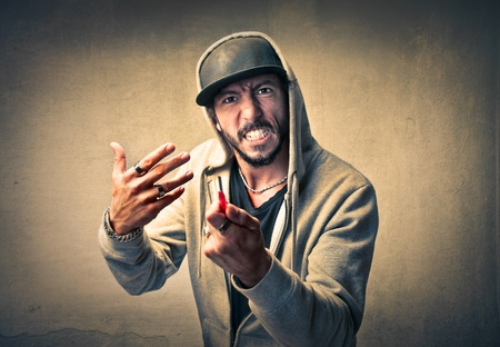 rage: man threatening with a knife  Stock Photo