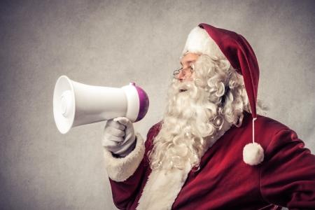 santa  claus: Santa Klaus speaking on the megaphone