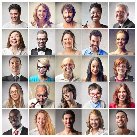 visage: diff�rents types de personnes souriant Banque d'images