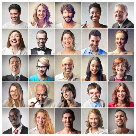 compositions: diverso tipo di gente sorridente