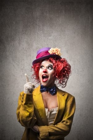 clowns: clown having an idea Stock Photo