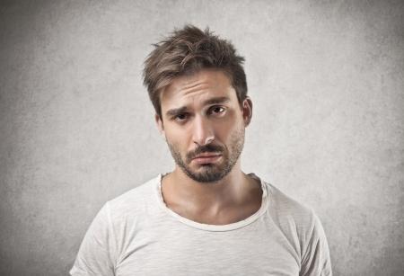 sad faces: bored man  Stock Photo