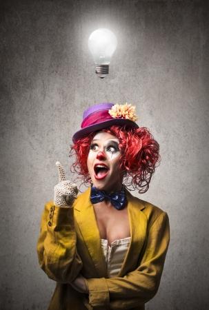 clown: clown having an idea Stock Photo