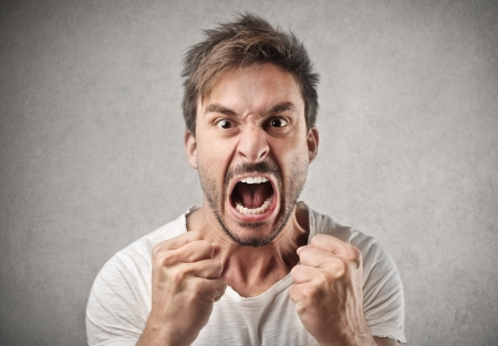 aggressive people: screaming man aggressively