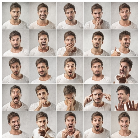 happy faces: different expressions of a same man