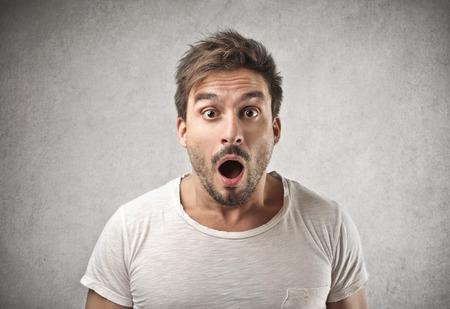 man mouth: surprised man  Stock Photo