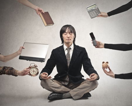 passive: businessman meditating Stock Photo