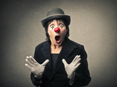 mime: amazed clown Stock Photo