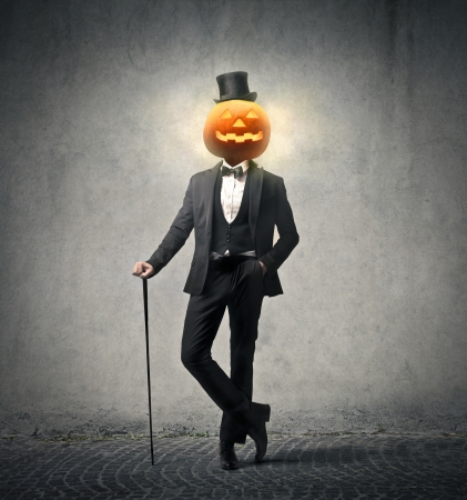 rich man with a pumpkin head