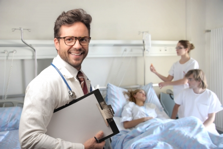 doctor smiling taking care of patients  photo