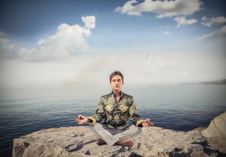 meditation stones: meditation outside Stock Photo