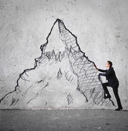 escalando: empresario escalada Foto de archivo