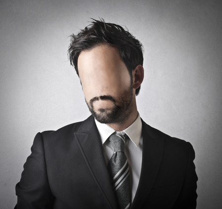 bashfulness: faceless man