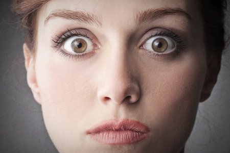 face expression: afraid face expression   Stock Photo