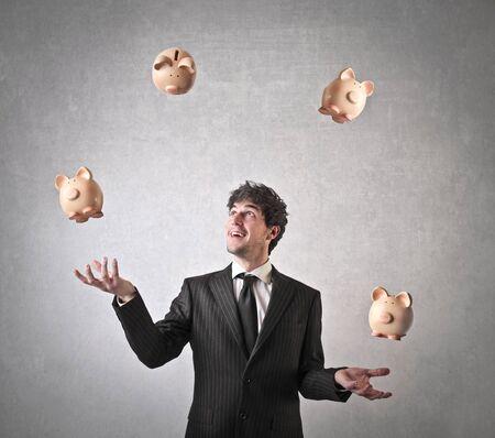 juggling: money juggling Stock Photo