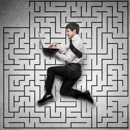 hard way: business  labyrinth Stock Photo