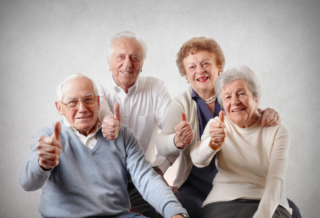 old people group: positive oldies Stock Photo