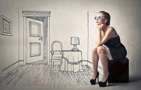 furniture design: beautiful woman with her imaginary room