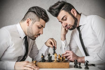 chess men: playing chess Stock Photo