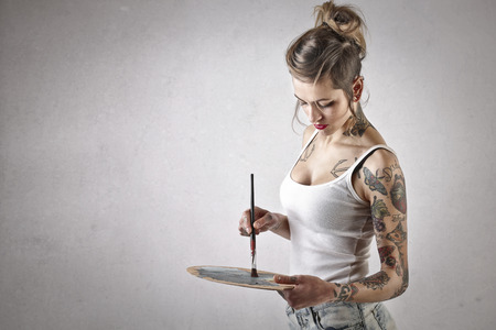 artistas: Pintura de la muchacha alternativa Foto de archivo