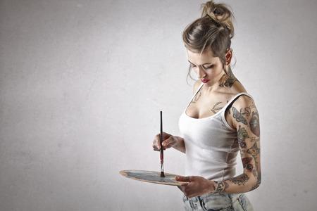 niña: Pintura de la muchacha alternativa Foto de archivo