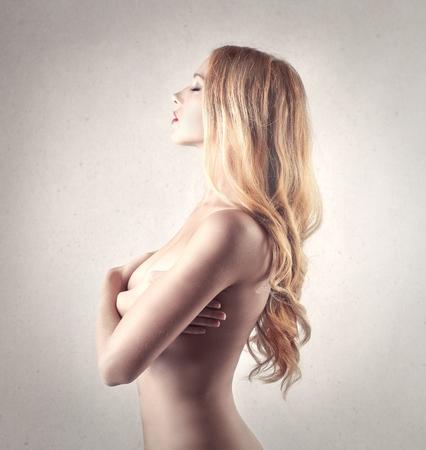 mujer rubia desnuda: hermosa chica Foto de archivo