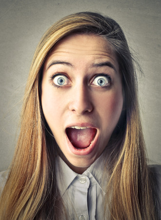 stupor: shocked woman Stock Photo