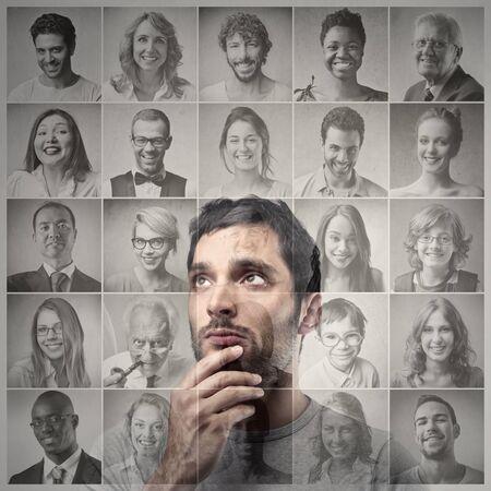 man choosing photo
