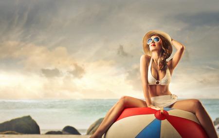 beach ball girl: vacation at the seaside Stock Photo