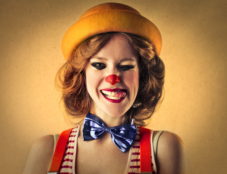 jokes: yellow clown Stock Photo