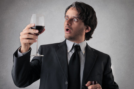 preoccupation: wine for businessman Stock Photo
