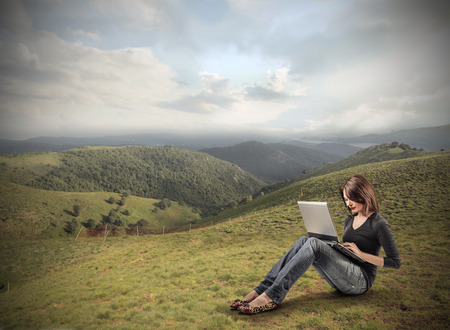 typing in the field photo