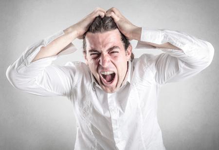 insane: screaming man Stock Photo
