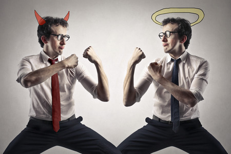 good or bad: evil and good Stock Photo