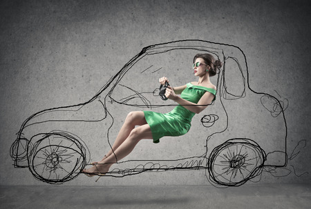 woman driving a illustrated car Stock Photo