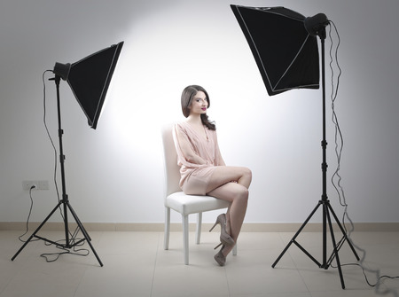 woman on a studio photo shoot