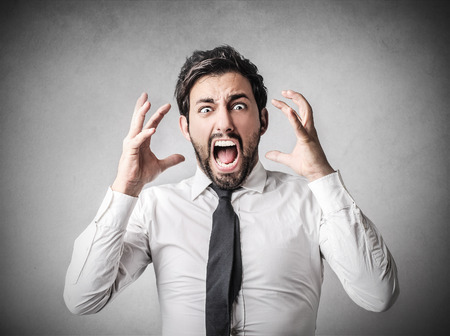 Worried businessman shouting