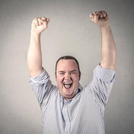 jubilating: Businessman jubilating