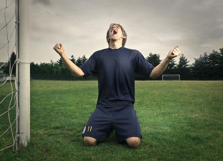 Footballer jubilating