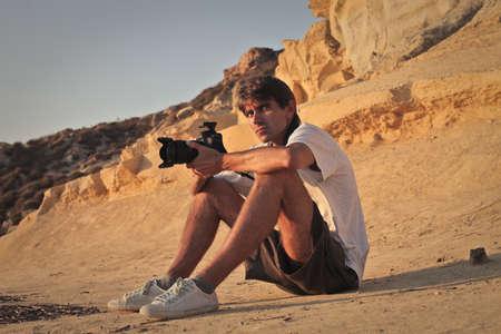 Professional photographer sitting  photo