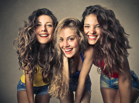 three persons: Smiling friends