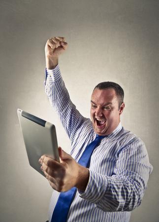 jubilating: Jubilating worker Stock Photo