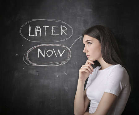 later: Now or not? Stock Photo