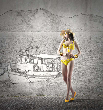 immagination: Yellow swimsuit and cocktail on a boat