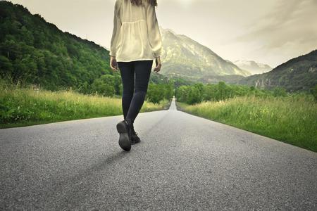 A long road to walk Banco de Imagens - 32756596