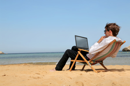 Working at the beach photo