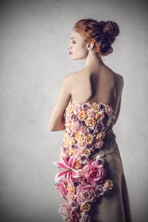 woman profile: Classy woman wearing flowers