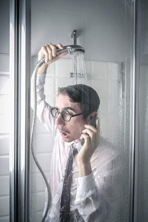 Businessman in the shower photo