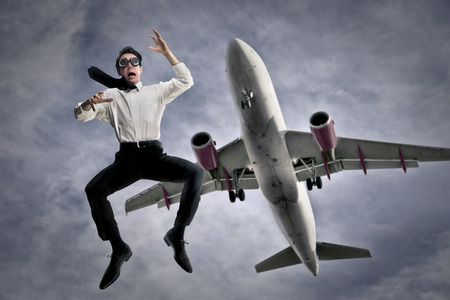 precipitate: Jumping off an airplane Stock Photo